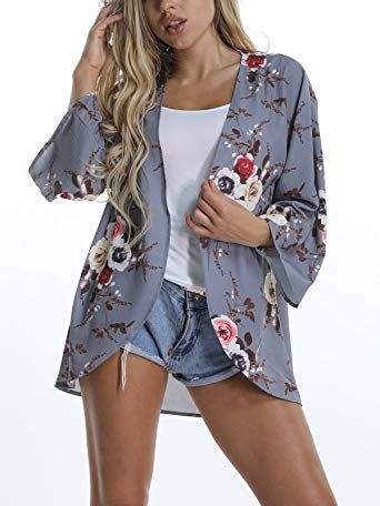 4bdfa0f688 New VYNCS Women's Casual 3/4 Sleeve Floral Print Cardigan Capes Kimono  Chiffon Loose Beach Cover up Summer online. [$16.98] 34 offers on top store