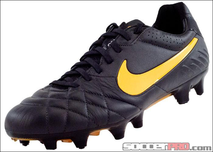Nike Tiempo Legend IV FG Soccer Cleats - Dark Charcoal with Laser Orange.