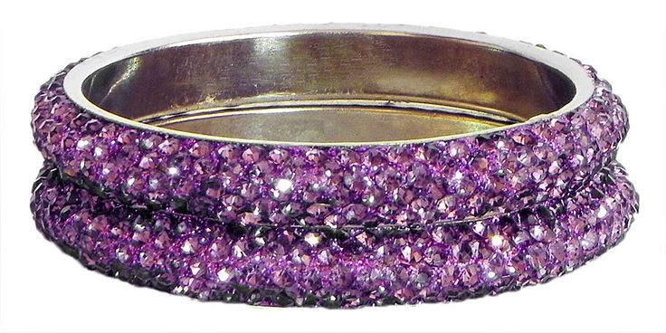Pair of Mauve Stone Studded Bangles (Stone and Metal)