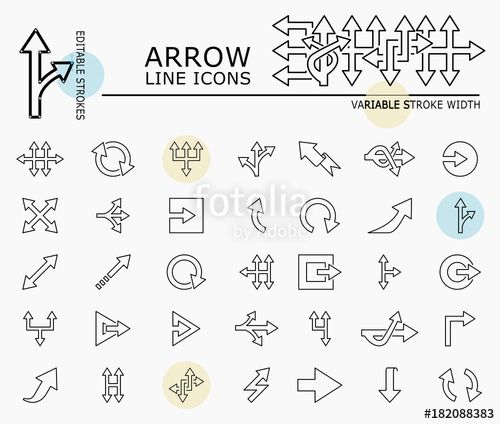 "Download the royalty-free vector ""Arrow line icons with minimal nodes and editable stroke width and style"" designed by dropix at the lowest price on Fotolia.com. Browse our cheap image bank online to find the perfect stock vector for your marketing projects!"