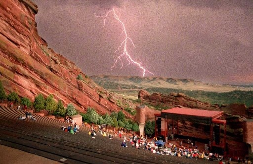 Red Rocks Ampitheatre, Morrison, Colorado--Best place in the world to see a concert!!! I even had my high school graduation here.