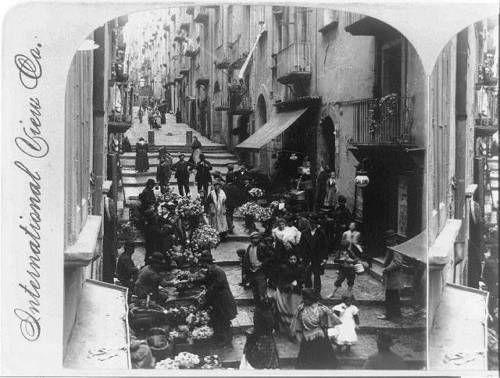 Street-of-Steps-Gradoni-de-Chioja-Flower-Sellers-Naples-Italy-c1902-City-Life