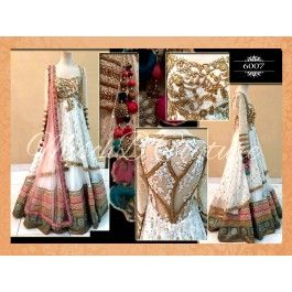 Online shopping for designer white & pink color embroidered lehnga by being fashion