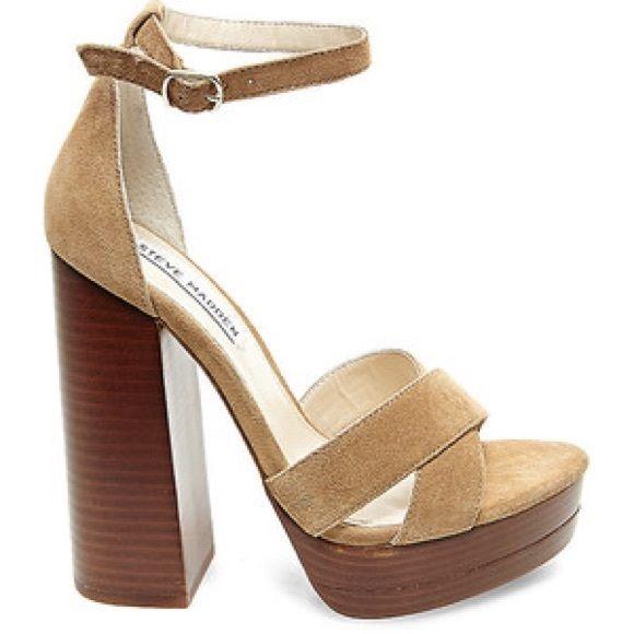 Camel Suede Platform Sandals NWT. Steve Madden ...