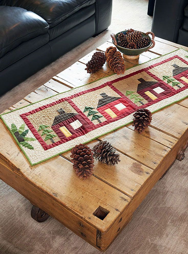 When the wind is howling and the snow is piling up, you'll love using this cute table runner. It's a great weekend project, and the blocks are made with simple squares and rectangles!