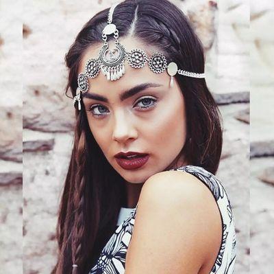Bohemia Headbands for women Hair Accessories Antique Silver Plated Chain Drape Head Piece Chains Tassel Tiaras Hairbands 3545