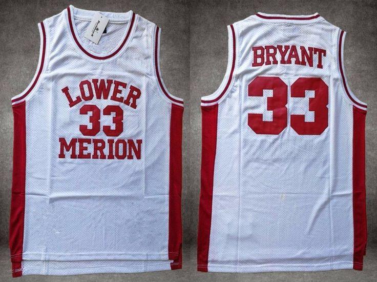 NBA+Lakers+All+Star+Kobe+Bryant+White+Lower+Merion+Retro+High+School+Basketball+Jersey+33
