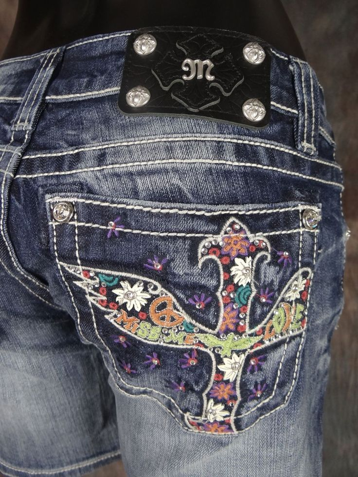 Colored Miss Me Jeans | Miss Me Jeans Shorts Hippy Chic Multi Colored Stitch with Peace Signs ...