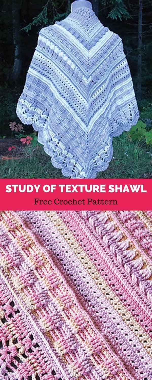 Study of Texture Shawl [ FREE CROCHET PATTERN   ECHARPES ...
