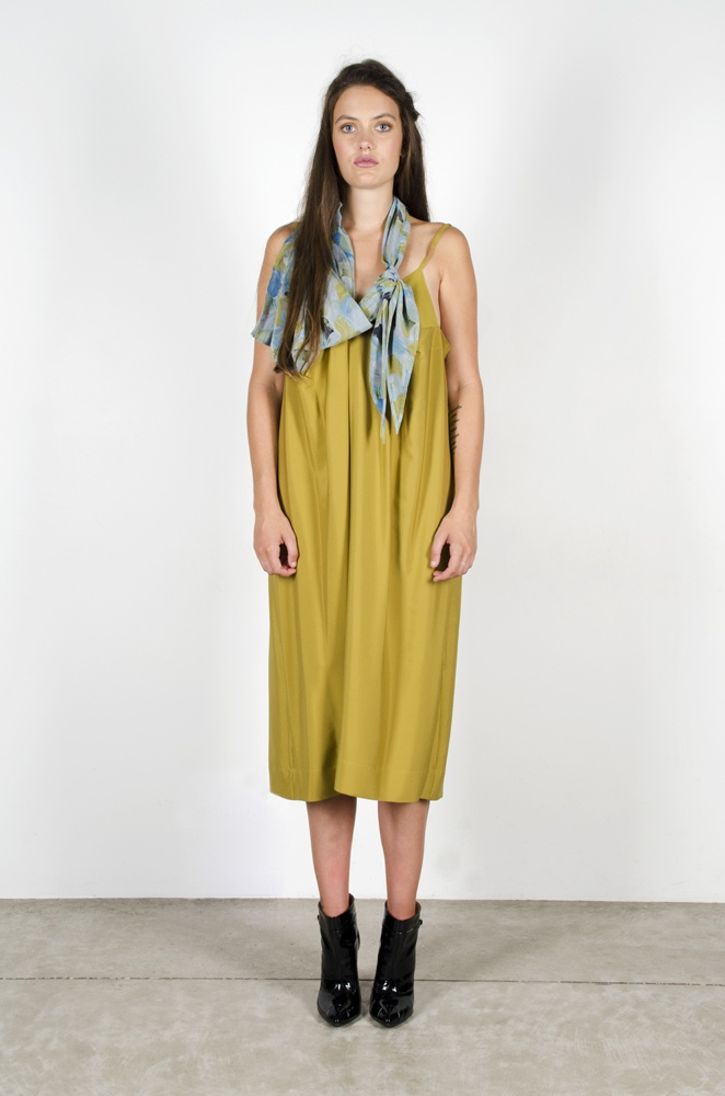 Whimsical Dress - Moss  Expressionism Scarf - 'Skyfall'