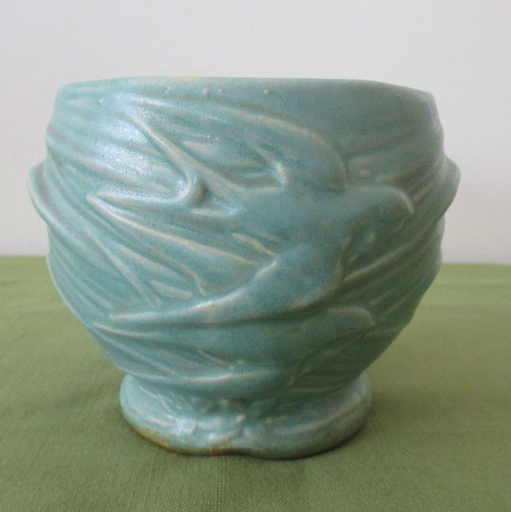 Antique McCoy Pottery Blue Green Flying Swallows Birds Jardiniere Planter Pot