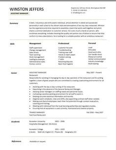 Restaurant assistant manager resume templates, CV, Example, job description, cover letter, format