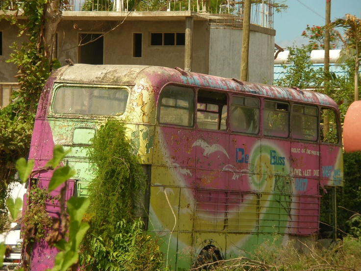 "50's tour bus, abandoned in Negril, Jamaica, they created a bar around it called ""de bus""(only in Ja.)......"