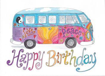 Volkswagen Van Birthday | GR080 hippy vw combi van happy birthday card | Flickr - Photo Sharing!