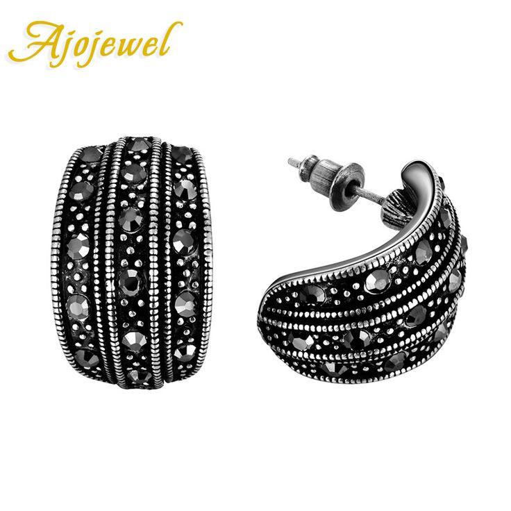 Ajojewel Brand New Vintage Retro Ladies Jewelry Fashion Simple Black CZ Diamond Stud Earrings For Women