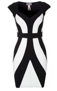 Black and White Geometric Colorblock Dress