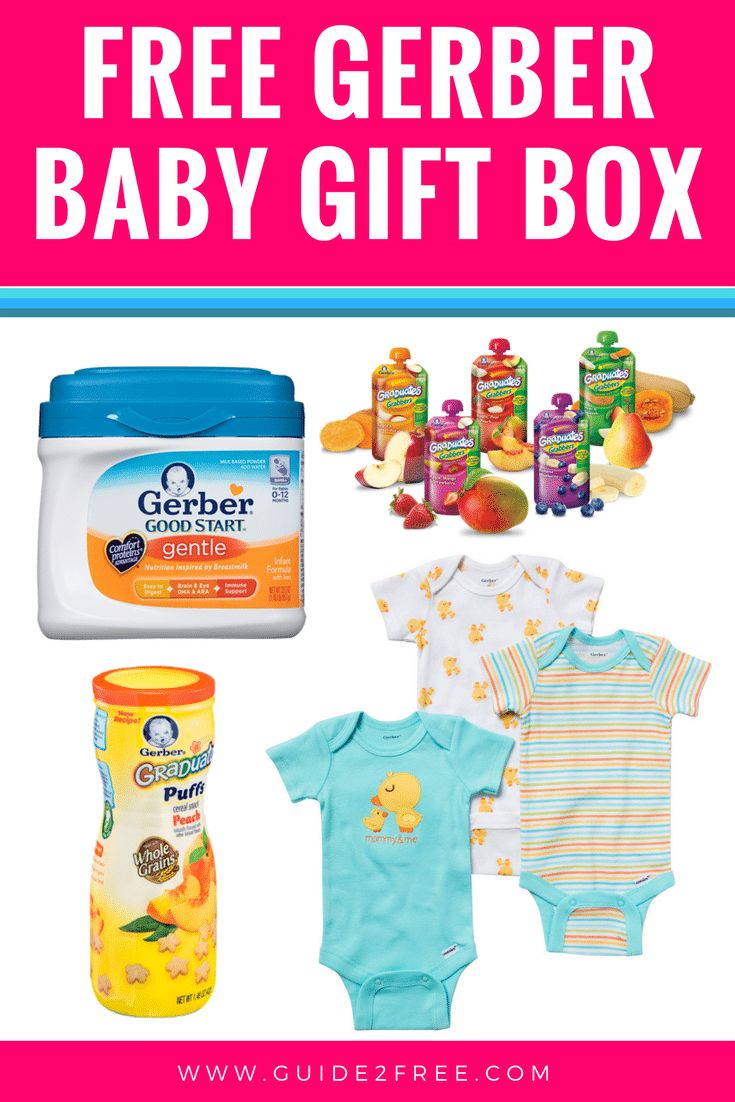 Get a FREE Gerber Baby Gift Box full of free products like baby formula, onsies, a bib, and more. They send it around your due date so watch for your free baby samples in the mail around that time!
