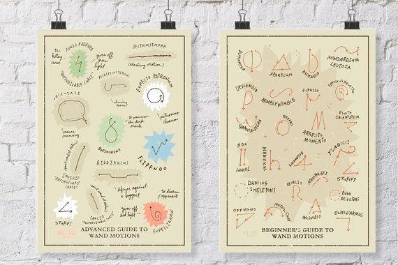 NIEUWE gids van geavanceerde toverstaf van Harry Potter en Wand moties grafiek bundel posters/afdrukken /posters / overeenkomende set /hogwarts huizen /hogwarts klassen
