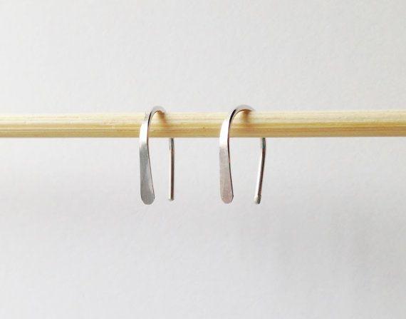 """Paar kleine Sterling Zilver Open Hoop Earrings Hoop Earrings, 1/2"""" lichtgewicht Modern minimalistisch Design, eenvoudige draad hoepels, zilveren boog, kleine zilveren oorbel"""