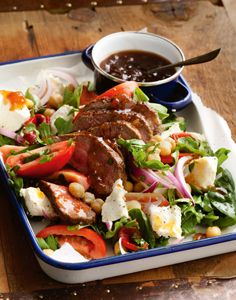 Warm Chickpea, Lamb and Feta Salad - A delicious autumn salad that's perfect for Easter entertaining. Recipe by Woolworths.