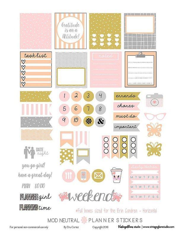 Free Mod Neutral Planner Stickers   Vintage Glam Studio