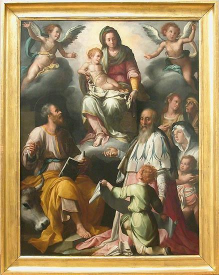 Jacopo CHIMENTI, dit JACOPO DA EMPOLI  Empoli, 1554 - Empoli, 1640    L'Apparition de la Vierge à saint Luc et saint Yves  1579