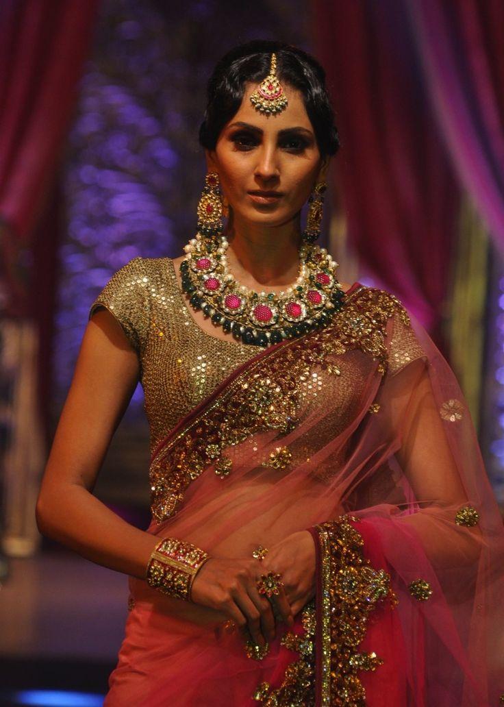 sparkly choli and oversized jewelry!