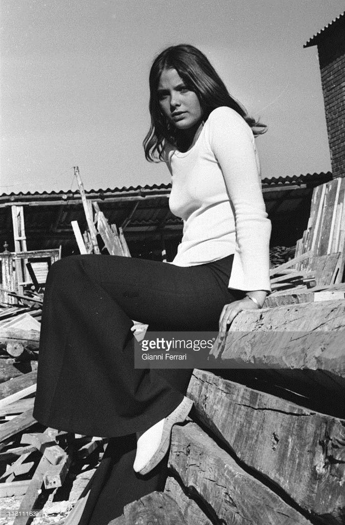 A photo shoot of the Italian actress Ornella Muti, 1971, Madrid, Spain.