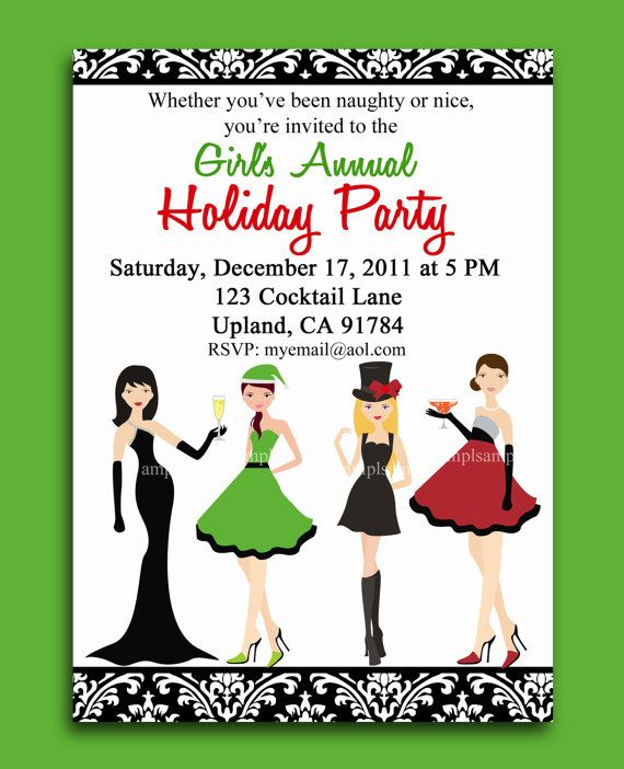 Christmas Cocktail Party Printable or Printed with FREE SHIPPING -  Girl's Night Out