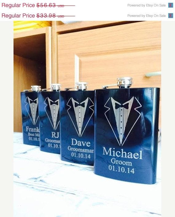 10% OFF SALE Set of 3 Engraved Flasks, Personalized Groomsmen Gift,, Black Engraved Flasks,8 oz. Hip Flask