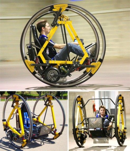 Electric Diwheel (Cool. But doesn't it look a little like the vehicle that South park's teacher came up with, without the uh operating devices. lol)