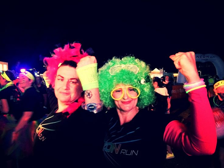 Me and Sally at the Neon Run! :) Ready to go, go, go!