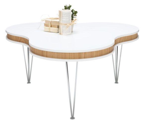 """""""Soffbord """"Treklöver"""" med dubbellackad bordsskiva i vitt, dekorkant i ekfaner samt spännben i metall."""""""