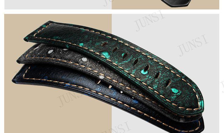 Kwaliteit Lederen Horloge band 22mm 24mm 26mm Struisvogel patroon Voor Mens Horloge accessoires Voor Panerai Strap in Quality Petal pattern Genuine Leather Mens Watch band 24mm 26mm Sterling Silver Retro Buckle For PaneraiUSD 19.90/pieceU van horlogebanden op AliExpress.com | Alibaba Groep