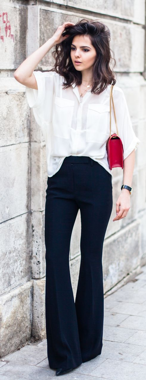 Black Crepe Flared Pants by The Golden Diamonds / baisc and stylish /  informal work outfit / flare pants / calça de alfaiataria / marine / white  shirt / red ...