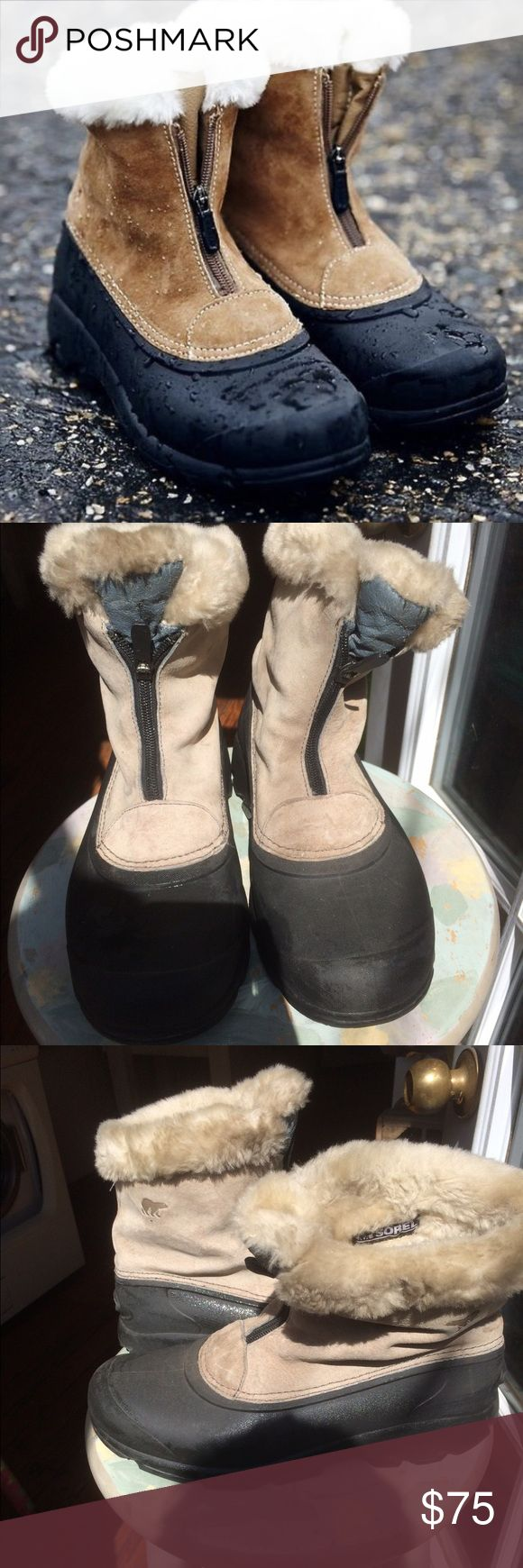 Sorel Snow Angel Tan Waterproof Thinsulate boots Host PickPre-loved Sorel Snow Angel Zipper Waterproof suede leather boots. Faux fur lining w/ 200g insulation: Removable EVA footbed Outsole: Waterproof  thermal rubber shell w/ outsole 4 enhanced traction. Lightweight-this Thinsulate boot is temperature-rated to -25 degrees Fahrenheit, awesome against inclement weather. See pics for condition these need a little cleaning- please ask questions b4 buying- can upload more pics. Looking for a new…