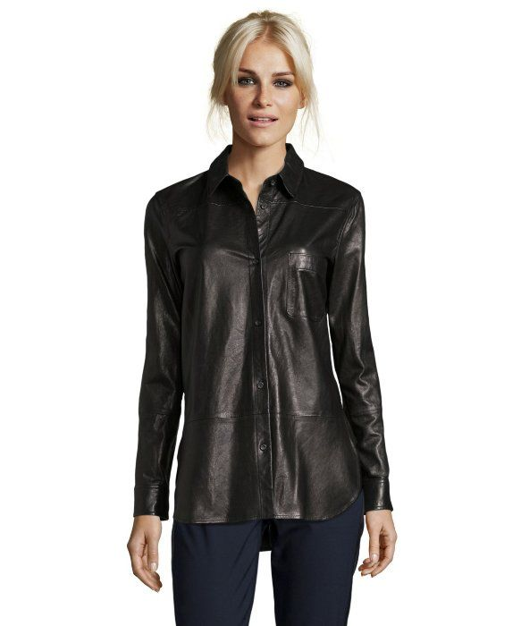 Vince black leather button down shirt is fashion week for Where to buy womens button up shirts