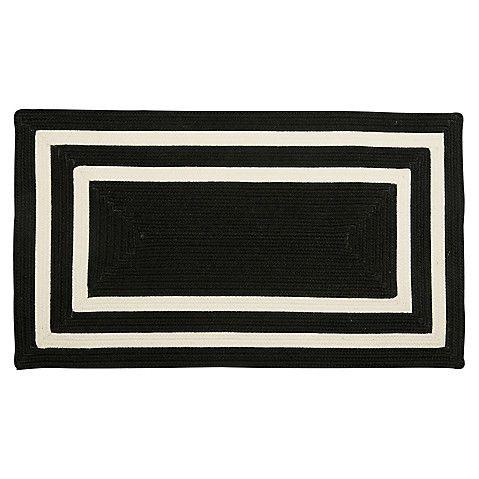 Outdoor Two-Border Rug, Black