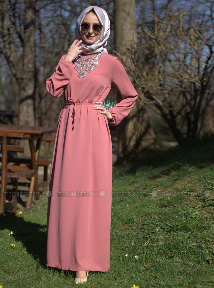 Kemerli Elbise - Pudra - Melek Aydın