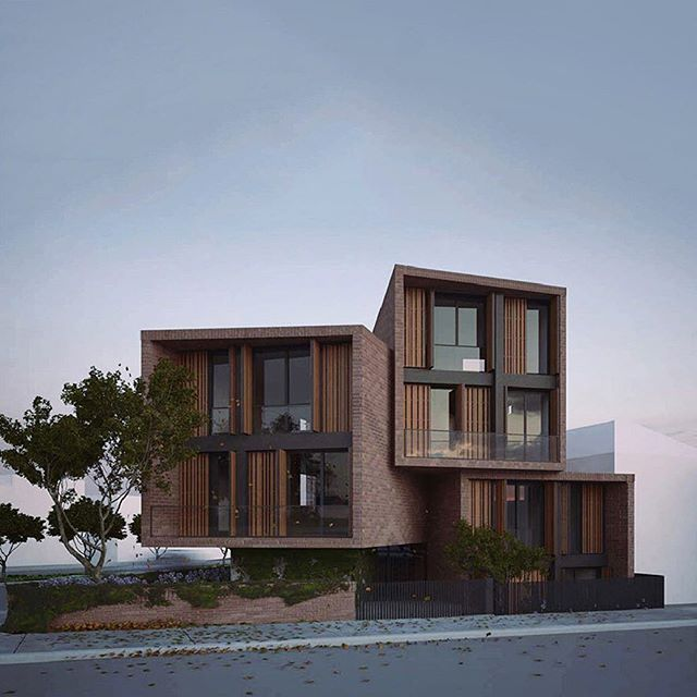 The idea for the Rathdowne Residences was to use four separate volumes to create houses rather than apartments. The two story form of each is interwoven with the next maximizing the site's triangular shape. The proposed materials of patterned brick integrate the modern form into its 150 year old neighbours in Carlton. #architecture # multiresidential #melbourne