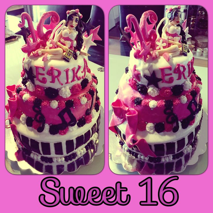 "My first 3 layered cake ""Sweet 16"""
