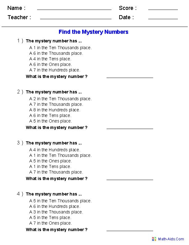 find the mystery number worksheets math pinterest places number worksheets and place values. Black Bedroom Furniture Sets. Home Design Ideas
