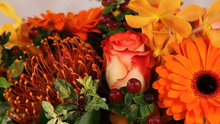nice mix of flowers in this close up of an arrangement from app florista3