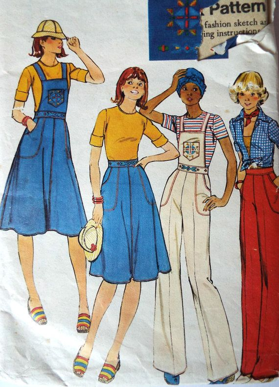 Vintage 1970s Butterick 4751 sewing pattern Options to make an A line skirt or flare pants with a detachable bib front Partially cut and complete