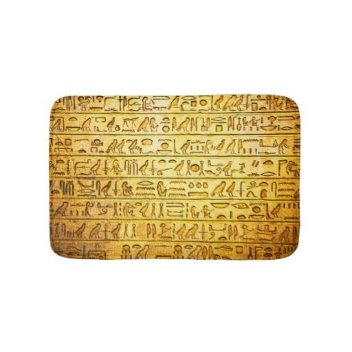 Ancient Egyptian Hieroglyphs Yellow Bath Mats. Looks great in Red, Purple, Green, and Blue too. Check them out!