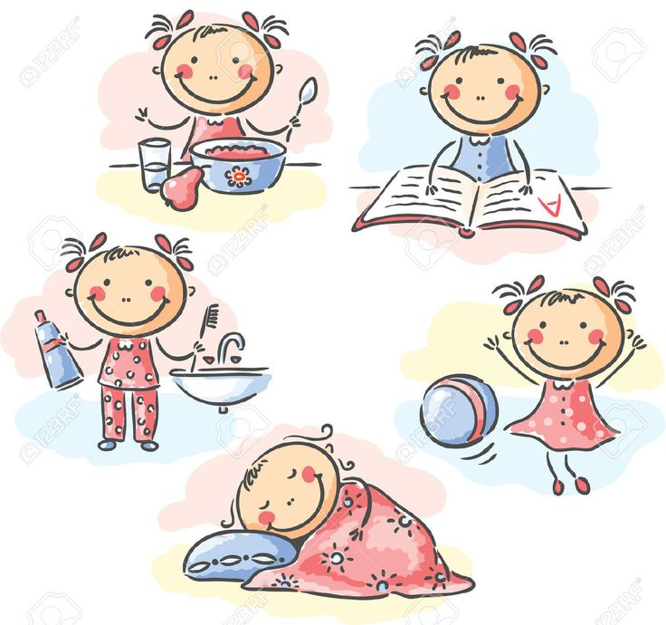 31896396-Cartoon-little-girl-Stock-Vector-daily-routine-activities.jpg (1300×1219)