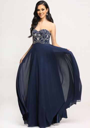 Cheap and Australia Sweetheart Zipper Beads Chiffon Navy A-line Sleeveless Floor Length Prom / Homecoming Dresses from En.dresses4Australia.com.au