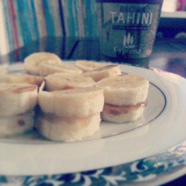 banana and tahini sandwiches - baby led weaning snack ideas or first stages blw