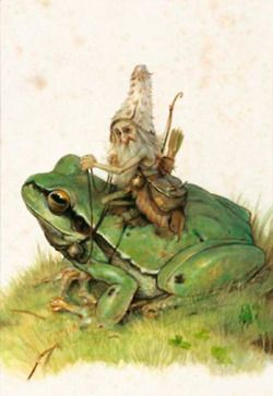 ≍ Nature's Fairy Nymphs ≍ magical elves, sprites, pixies and winged woodland faeries - Tiny gnome on a frog