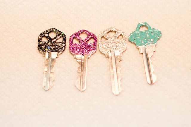 Glitter keys - Use glitter nail polish or Elmer's glue coated with glitter, then coated with clear nail polish.